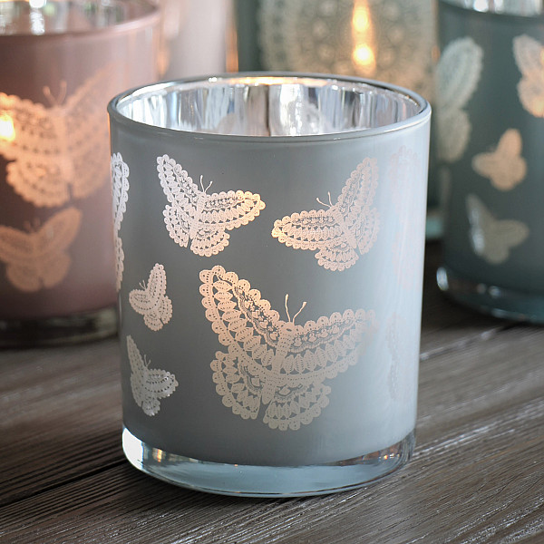 Majas Candle Holder Happiness Butterflies Large - White