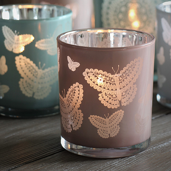 Majas Candle Holder Happiness Butterflies Large - Soft Pink