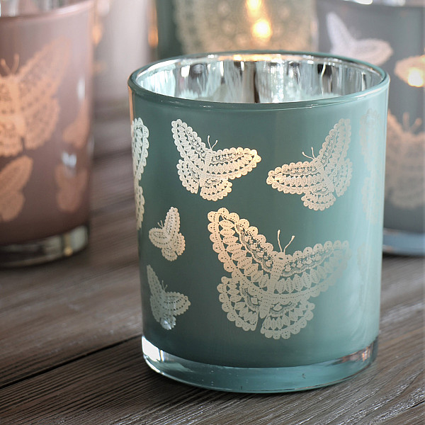 Majas Candle Holder Happiness Butterflies Large - Aqua