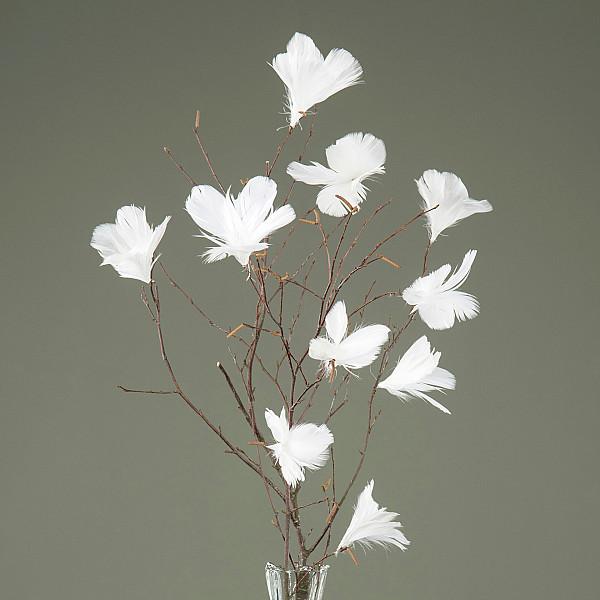 Påskfjädrar/Fjädrar Blom Vit - 12 st
