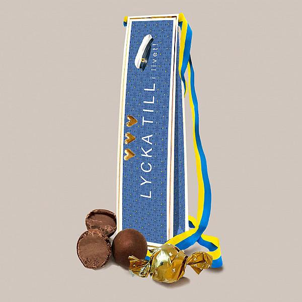 Chokladkort Student Lycka till med band