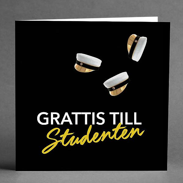 Kort Grattis till studenten Svart/Vit/Guld