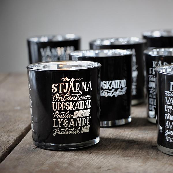 Majas Candle Holder Du är en stjärna - Black / Silver