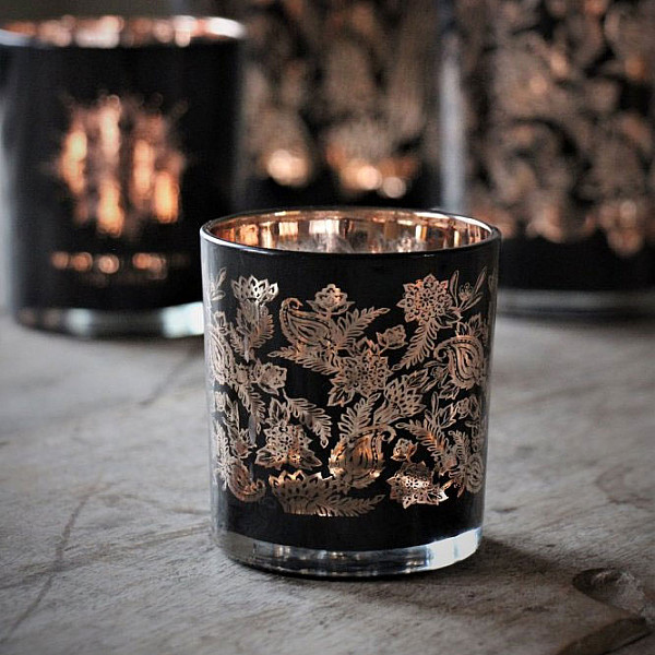 Majas Candle Holder Paisley Black / Copper - Small