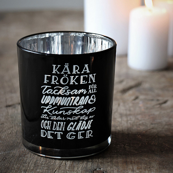 Majas Candle Holder Kära Fröken - Black / Silver