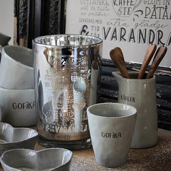 Majas Candle Holder Kärlek & Fika Recept - Silver