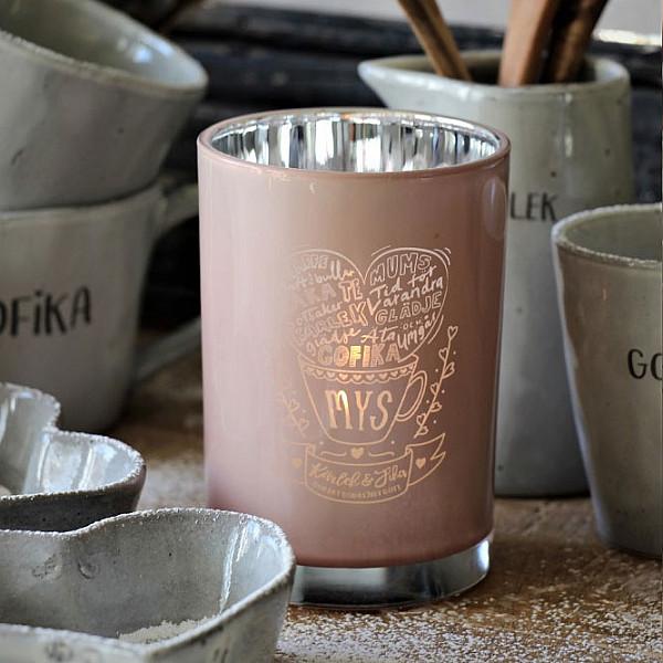 Majas Candle Holder Kärlek & Fika Mys - Pink