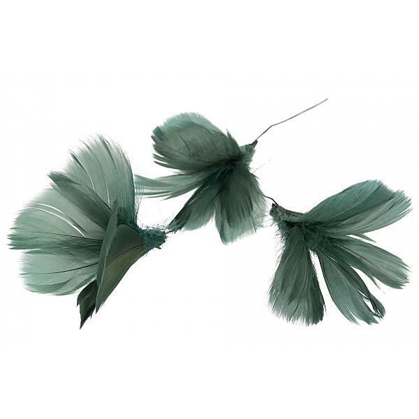 Påskfjädrar/Fjädrar Blom Mörk Grönblå - 12 st