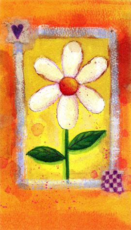 Hälsningskort Vit Blomma Orange bakgrund