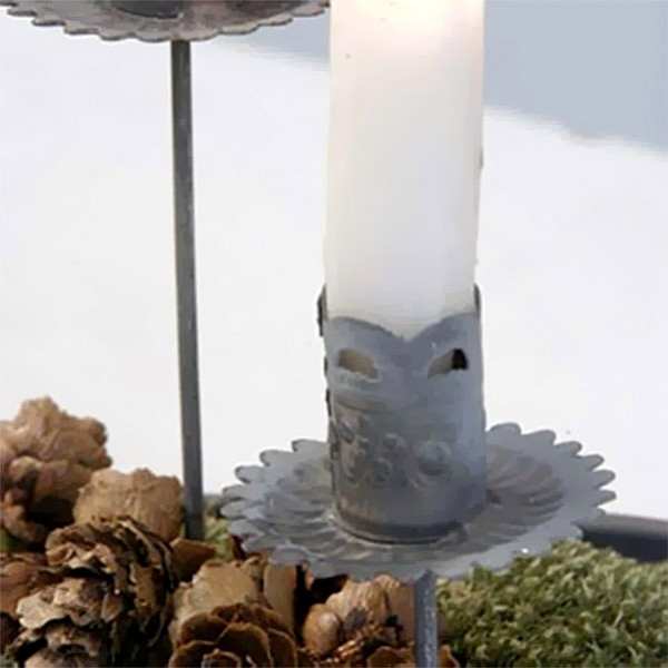 Candle Holder on stick - Zinc