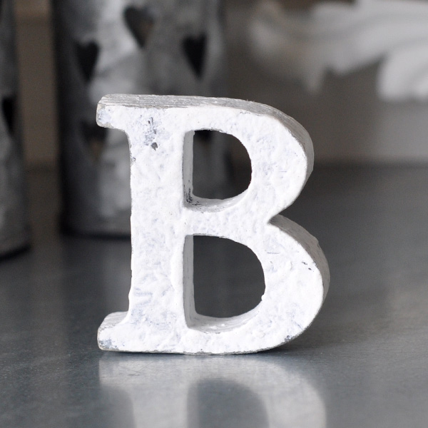 Small Wooden Letter B - White