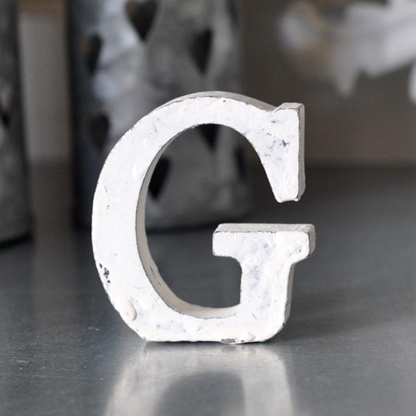 Kleiner Holzbuchstabe G - Weiß
