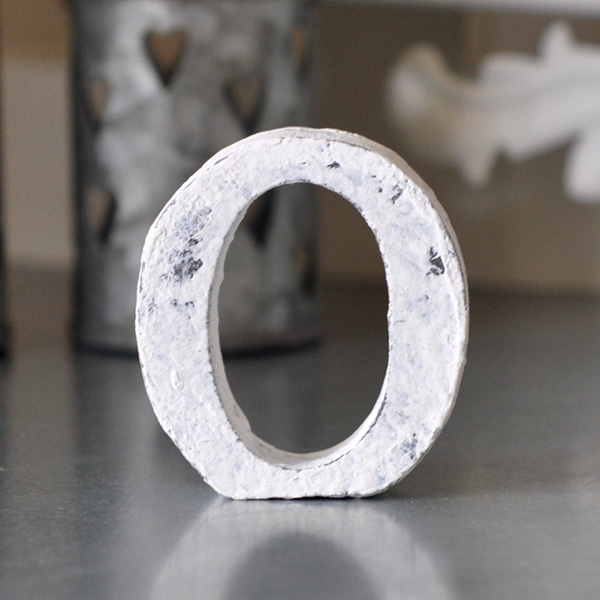 Small Wooden Letter O - White