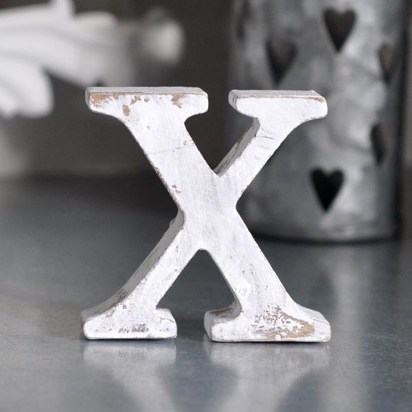 Liten bokstav i trä X - Vit