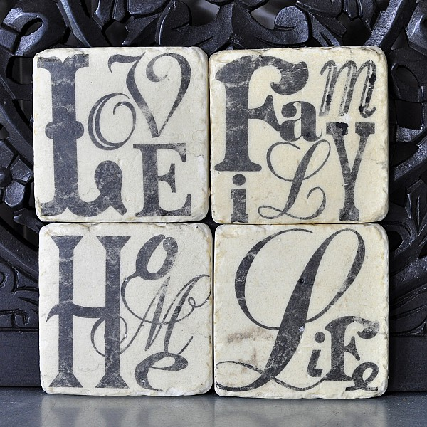 Coasters 4 pcs - Home, Life, Love, Family
