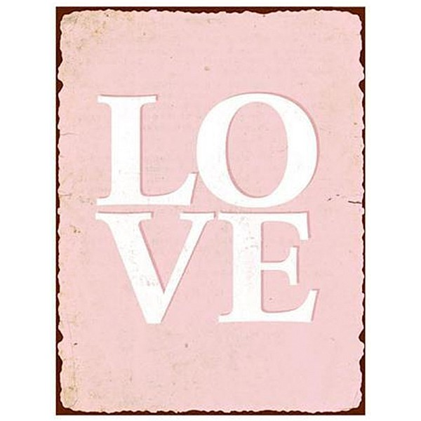 Tin Sign Love - Pink