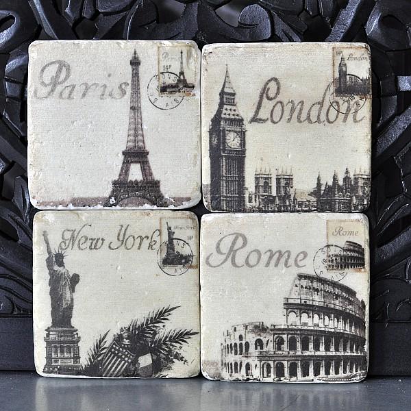 Glasunderlägg Paris, Rom, London, New York