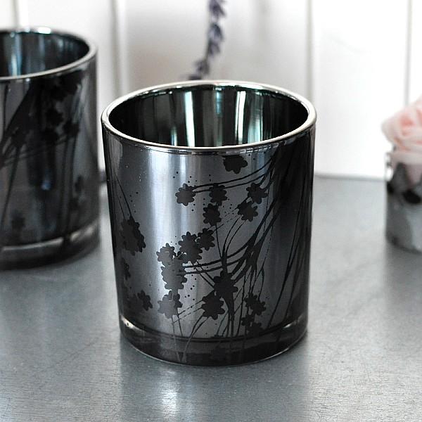 Candle Holder Metallic Cherry Twig - Black