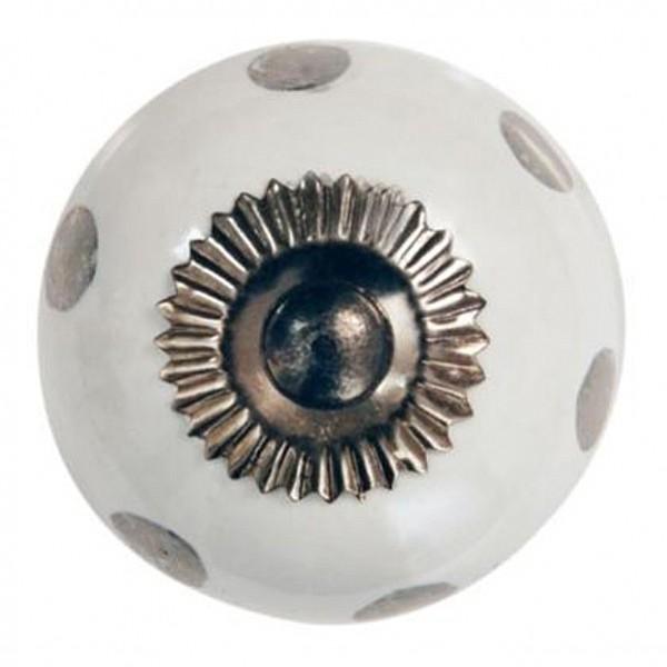 Porcelain Knob Silver dots