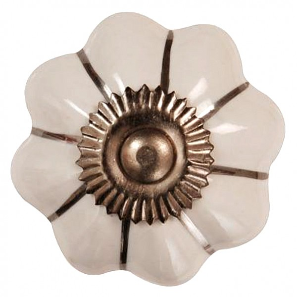 Porcelain Knob Garlic - White with silver stribes