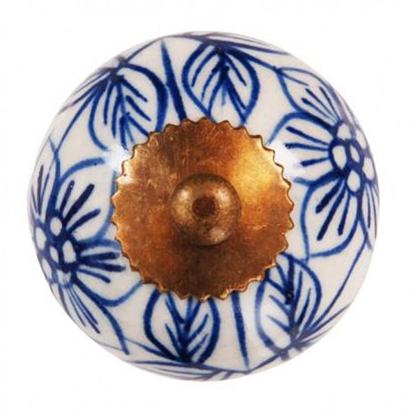 Porzellanknopf Floral - Blau