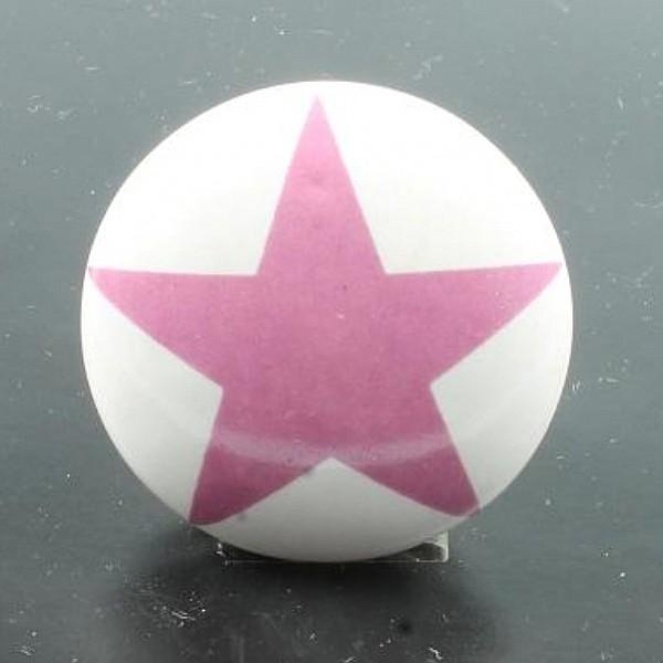 Porzellanknopf Stern - Pink