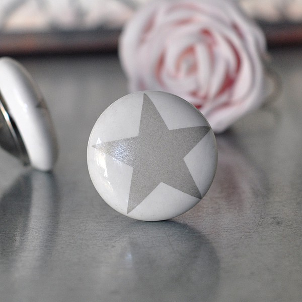 Porcelain Knob Star - Grey