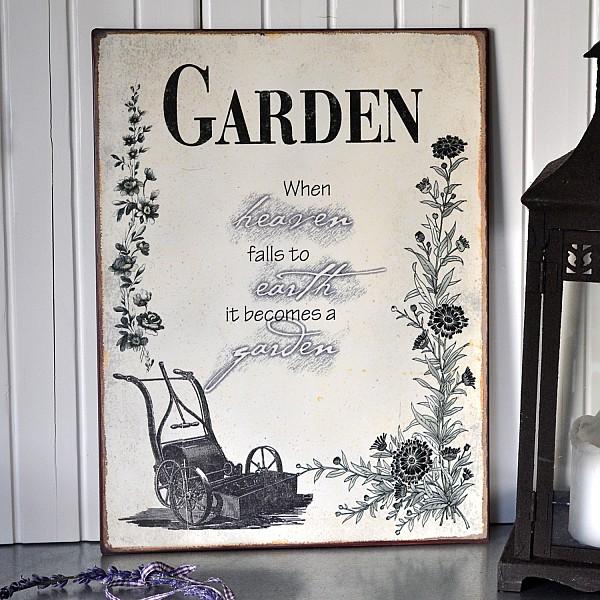 Plåtskylt Garden