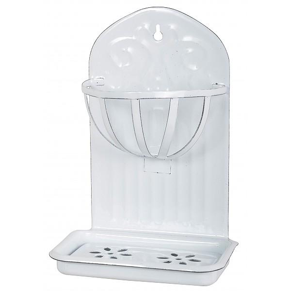 Vägghållare / Tvålkopp i emalj med korg Vit