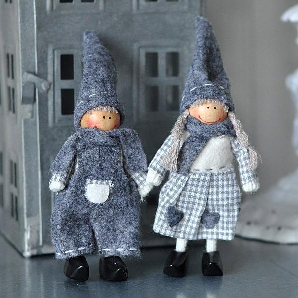 Weihnachtskinder Mädchen und Junge - Grau