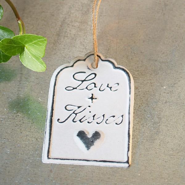 Geschenkanhänger Love + Kisses 6 x 4 cm - Weiß