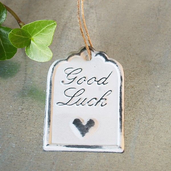 Tag Good Luck with heart 6 x 4 cm - White