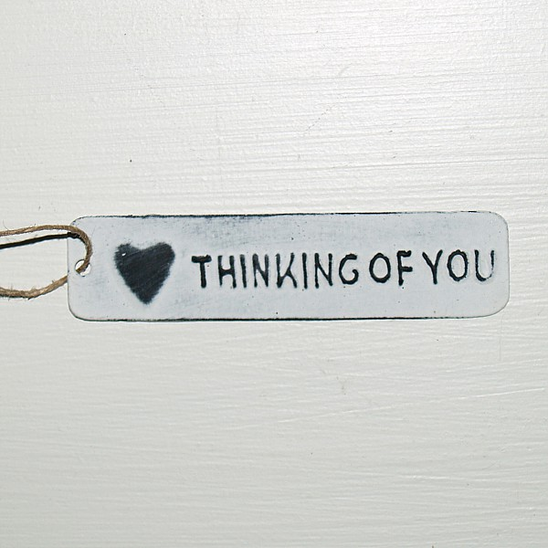 Tag Thinking of you with heart - White