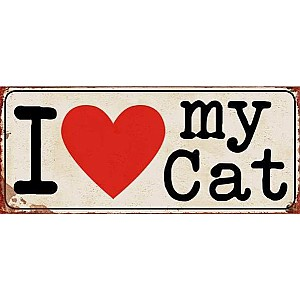 Tin Sign I love my cat