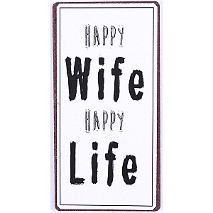 Magnet/Kylskåpsmagnet Happy wife happy life
