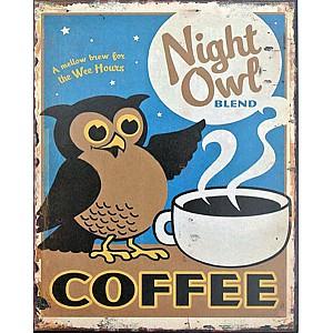Blechschild Kaffee Eule