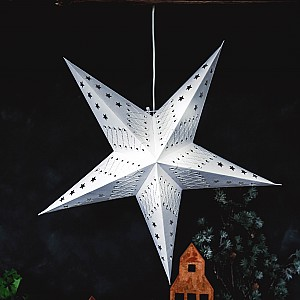 Majas Julstjärna Crochet 5 spetsar - Vit