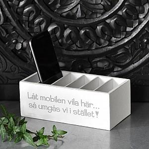 Holzkiste Lassen Sie Ihr Handy hier ruhen