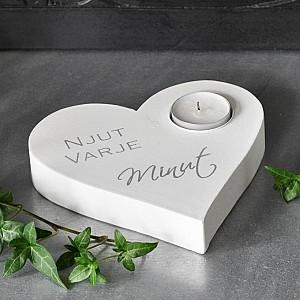 Candle Holder Heart Njut varje minut