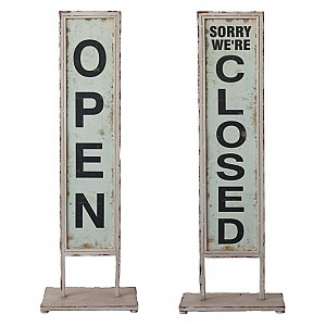 Metal Sign on foot Open/Closed