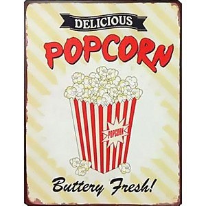 Tin Sign DELICIOUS POPCORN