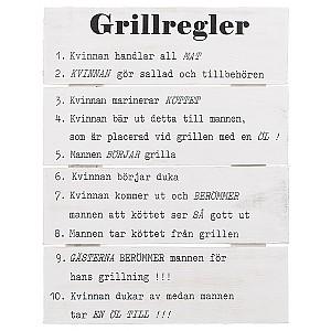 Tavla i trä Grillregler