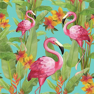 Servetter Flamingos Blue