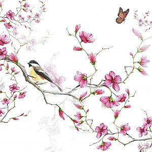 Servietten Bird & Blossom White
