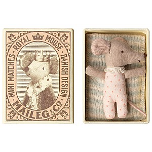 Maileg Girl Baby Mouse Sleepy/Wakey in Box