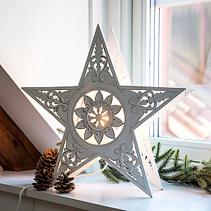 Wooden Table Lamp Star