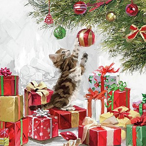 Napkins Kitten and Baubles