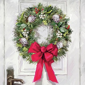 Napkins White Wreath