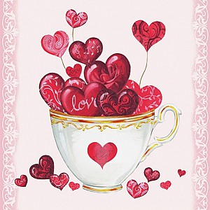 Napkins Cup Of Hearts