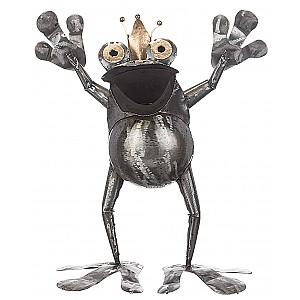 Glad Groda i smide med krona 38 cm - Står på två ben